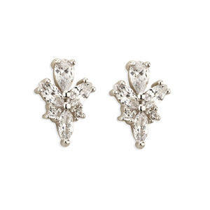 Paul Costelloe Jewellery Sterling Silver Vintage Style Pear Marquise Cluster Bridal Stud Earring-PC3121 - Diana O'Mahony Jewellers