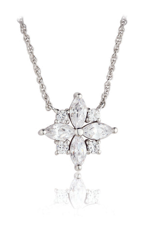 Paul Costelloe Jewellery Sterling Silver Vintage Style Marquise Cluster Bridal Pendant Necklace-PC4047 - Diana O'Mahony Jewellers