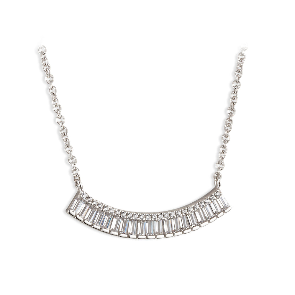 Paul Costelloe Jewellery Sterling Silver Baguette Wave Crescent Cluster Pendant Necklace-PC4103