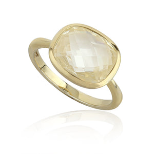 Paul Costelloe Jewellery Sterling Silver Yellow Gold Plated Topaz Citrine Rub Over Ring-PC2037 - Diana O'Mahony Jewellers
