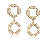 Paul Costelloe Double Open Circle Geometric Drop Earrings- PC3102