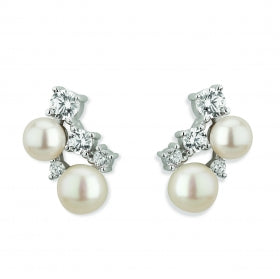 Paul Costelloe Sterling Silver CZ & Pearl Stud Earrings - PC3110