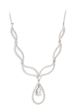 Paul Costelloe Sterling Silver Open Teardrop CZ Necklace- PC9015