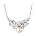 Paul Costelloe Sterling Silver Crystal Crown Pearl Necklace - PC9032