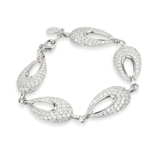 Paul Costelloe Sterling Silver Crystal Encrusted Open Teardrop Bracelet - PC8016