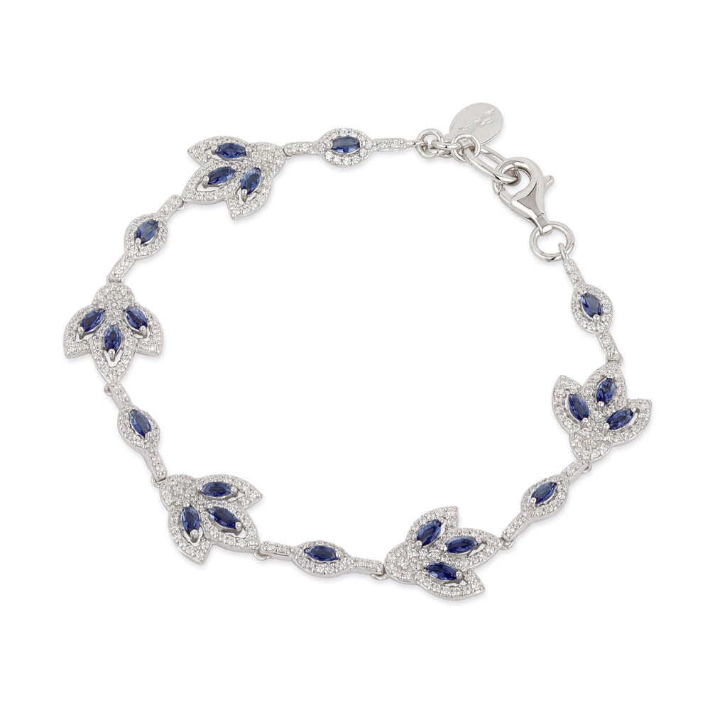 Load image into Gallery viewer, Paul Costelloe Sterling Silver Vintage Style Sapphire CZ Bracelet - PC8036