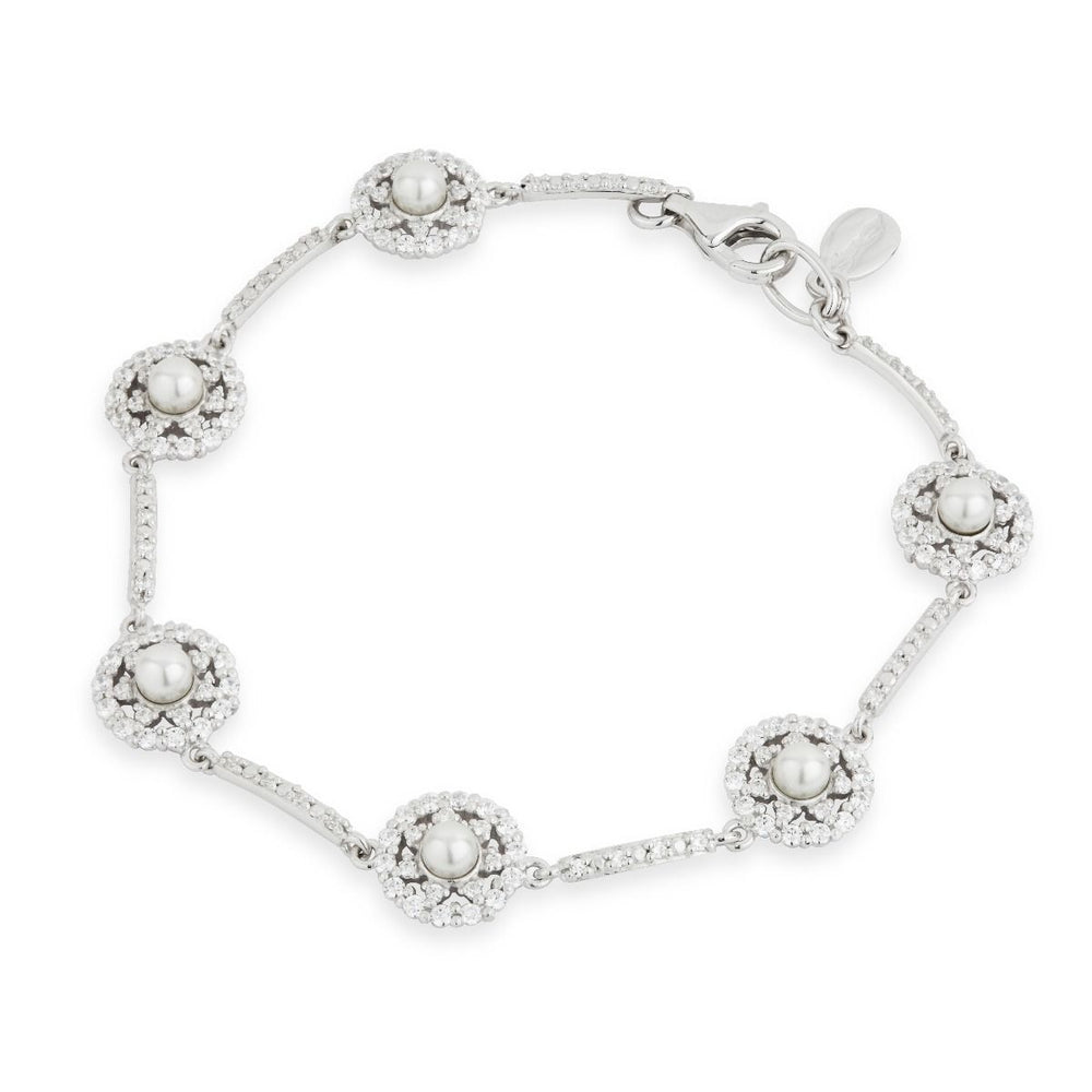 Paul Costelloe Sterling Silver Pearl CZ Cluster Bracelet - PC8021