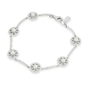 Load image into Gallery viewer, Paul Costelloe Sterling Silver Pearl CZ Cluster Bracelet - PC8021