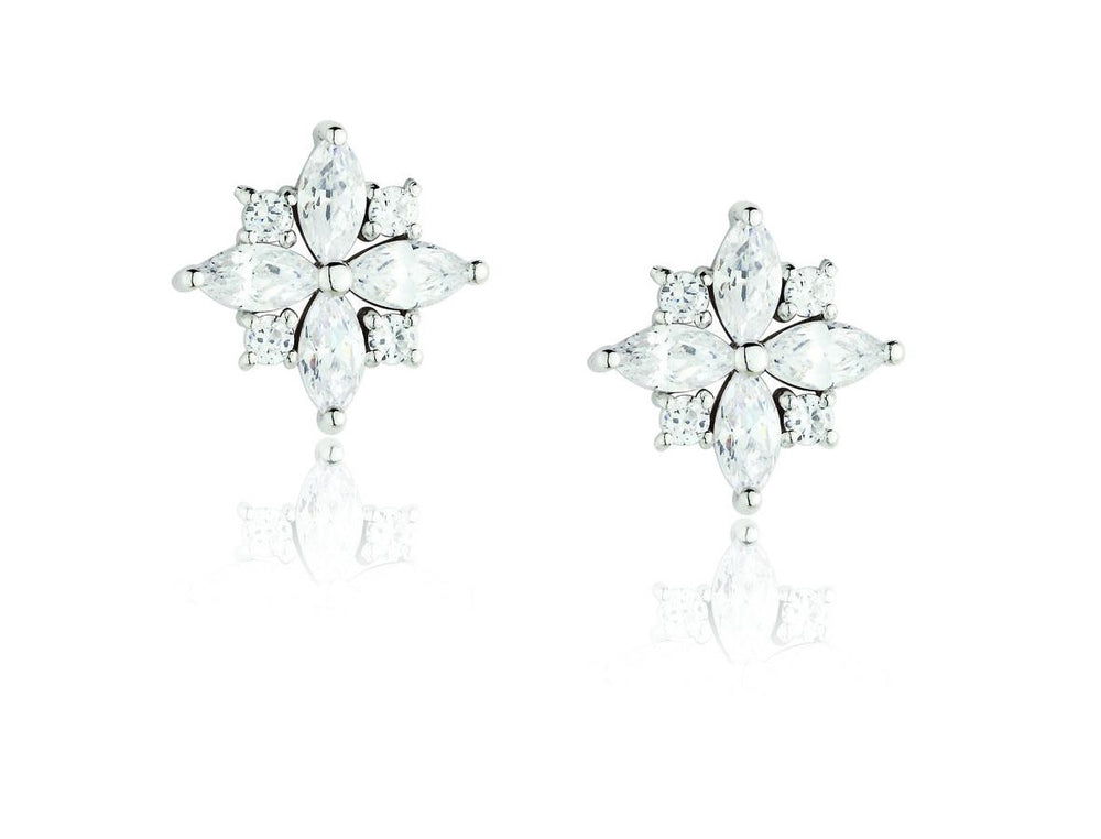 Paul Costelloe Sterling Silver CZ Cluster Earrings