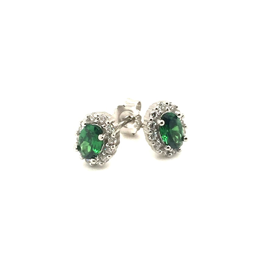 Sterling Silver Emerald Green Oval CZ Cluster Earrings - Diana O'Mahony Jewellers