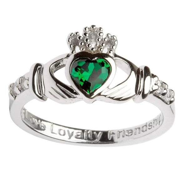 Shanore Sterling Silver Green CZ Claddagh Ring