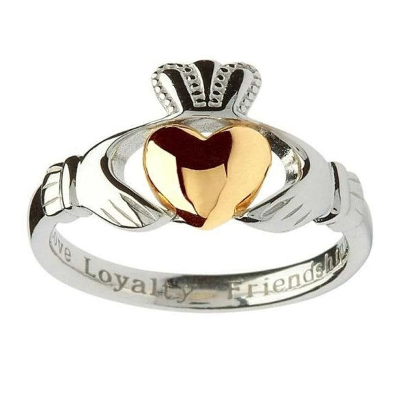 Sterling Silver Claddagh Ring with 10k Gold Heart by Shanore