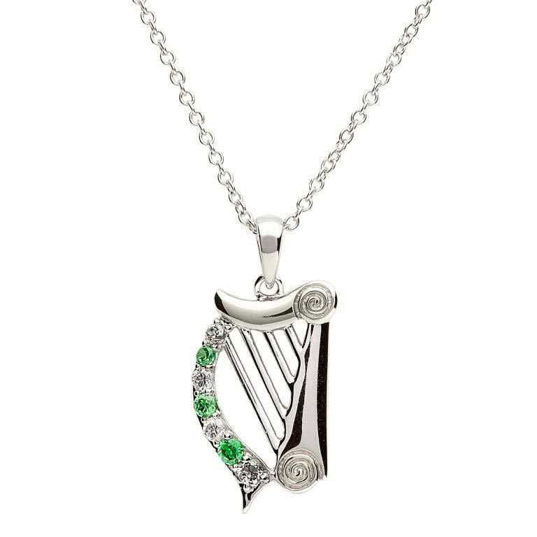 Sterling Silver Harp Pendant by Shanore
