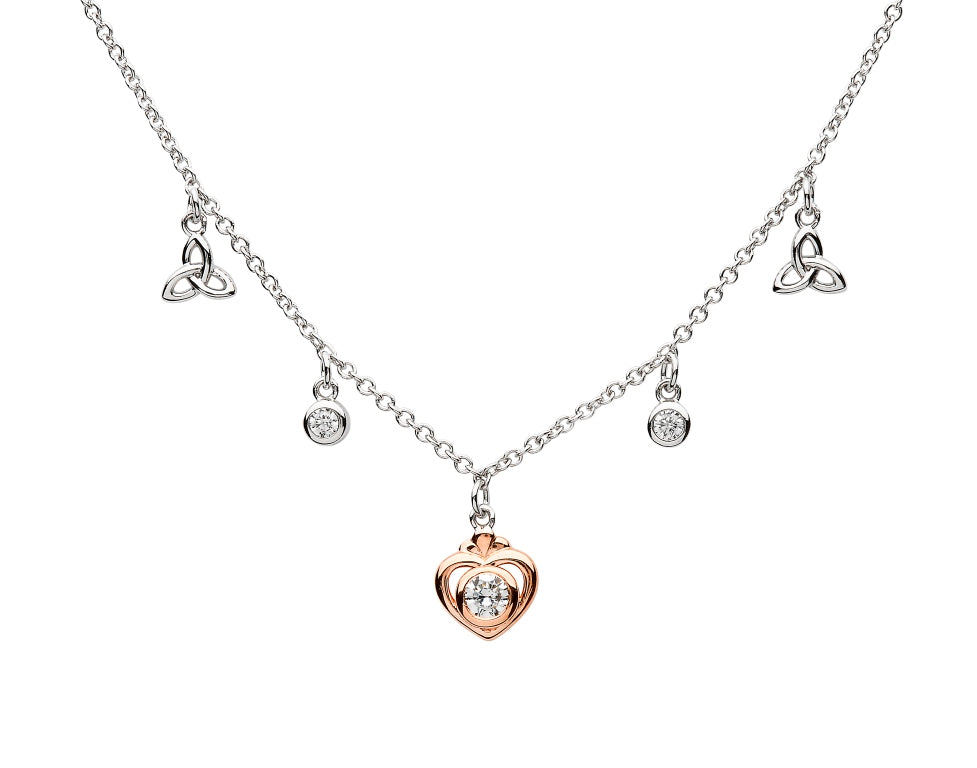 Sterling Silver Rose Gold Trinity Knot Necklace by Shanore