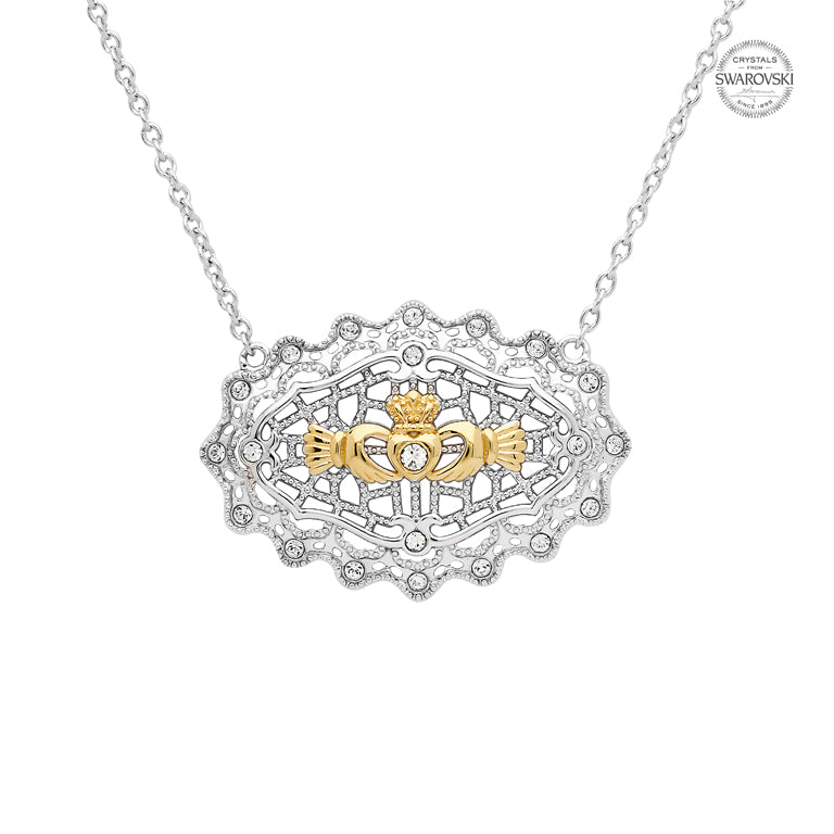 Sterling Silver Irish Lace Claddagh Necklace by Shanore