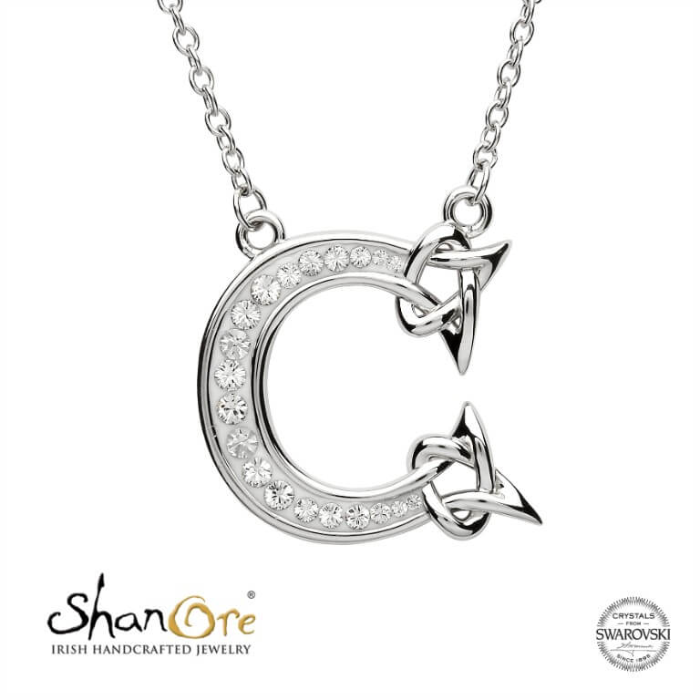 Sterling Silver Celtic Initial C Necklace by Shanore