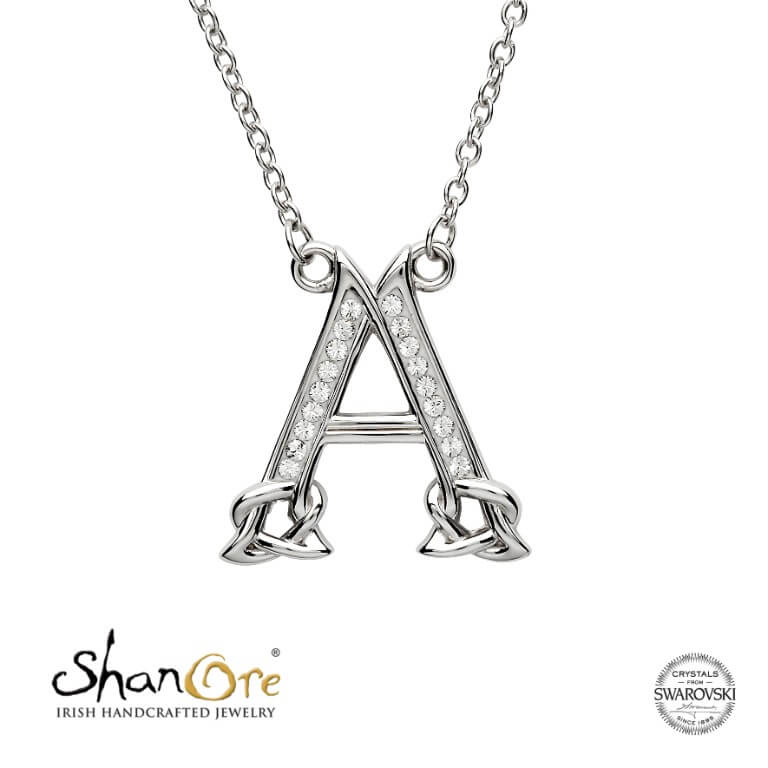 Sterling Silver Celtic Initial A Necklace by Shanore