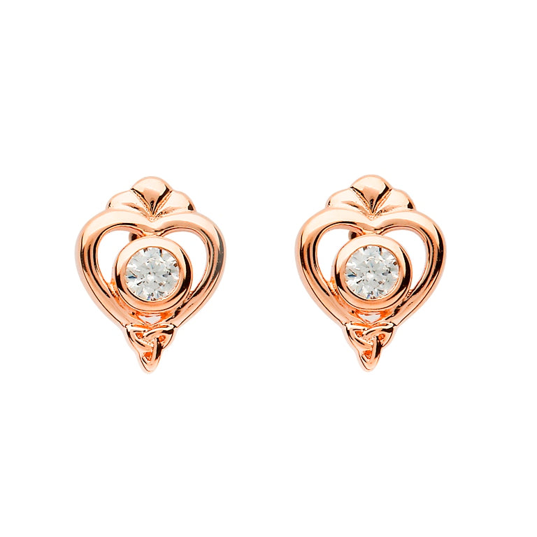 Sterling Silver Rose Gold Trinity Knot Stud Earrings by Shanore