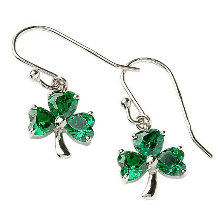 Sterling Silver Green Shamrock Drop Earrings by Shanore