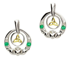 Sterling Silver Emerald & Diamond Trinity Knot Claddagh Earrings by Shanore