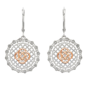 Sterling Silver Irish Lace Celtic Knot Earrings by Shanore