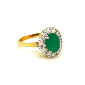 9ct Gold Oval Green Agate Cubic Zirconia Cluster Ring - Diana O'Mahony Jewellers