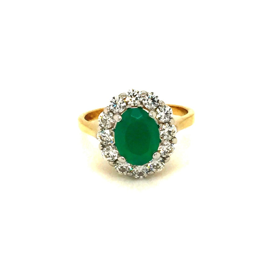 9ct Gold Oval Green Agate Cubic Zirconia Cluster Ring