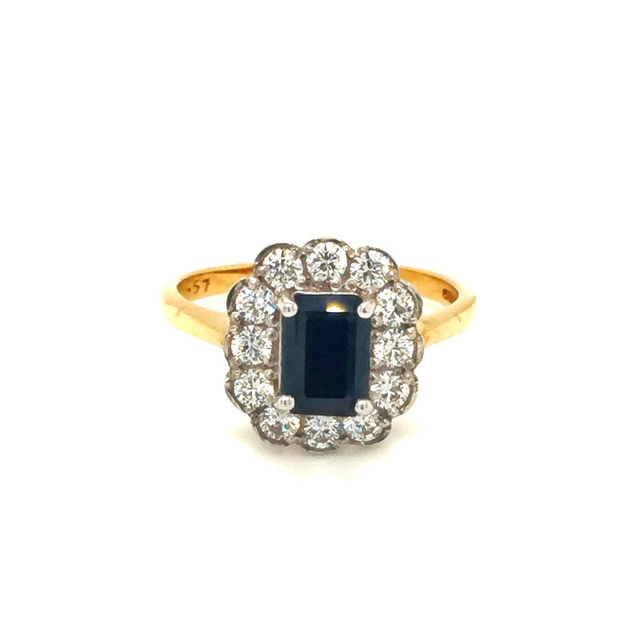 9ct Gold Vintage Style Australian Blue Black Cubic Zirconia Cluster Ring