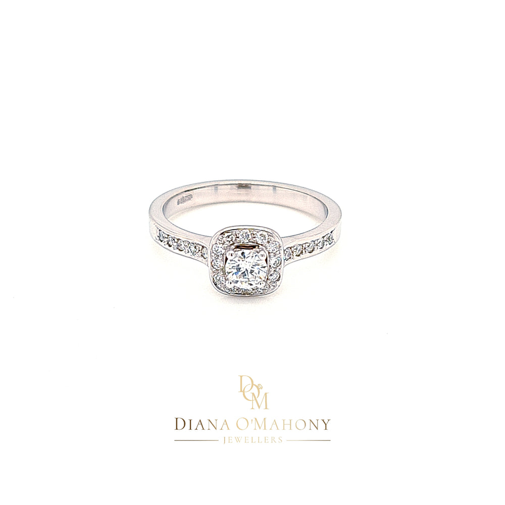 Cushion Shaped Halo Cluster Diamond Engagement Ring