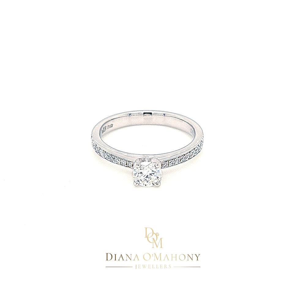 Platinum Solitaire Diamond Engagement Ring with Diamond Shoulders