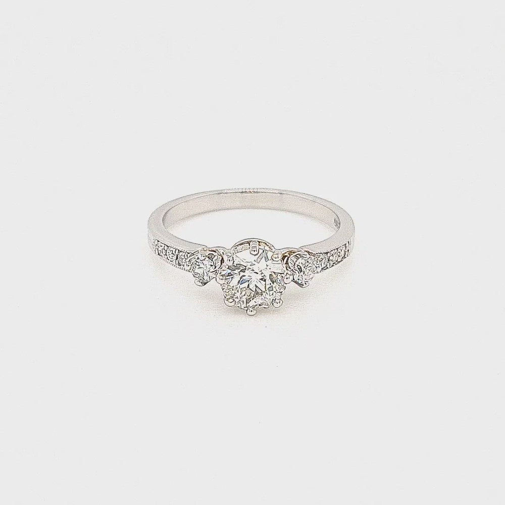 Load and play video in Gallery viewer, Platinum Solitaire Ring with Diamond Sides & Shoulders