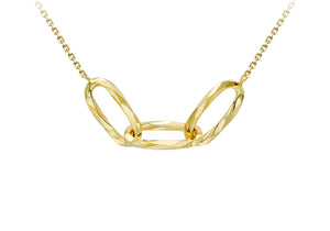 9ct Gold Interlinked Diamond-cut Triple Oval Necklace - Diana O'Mahony Jewellers