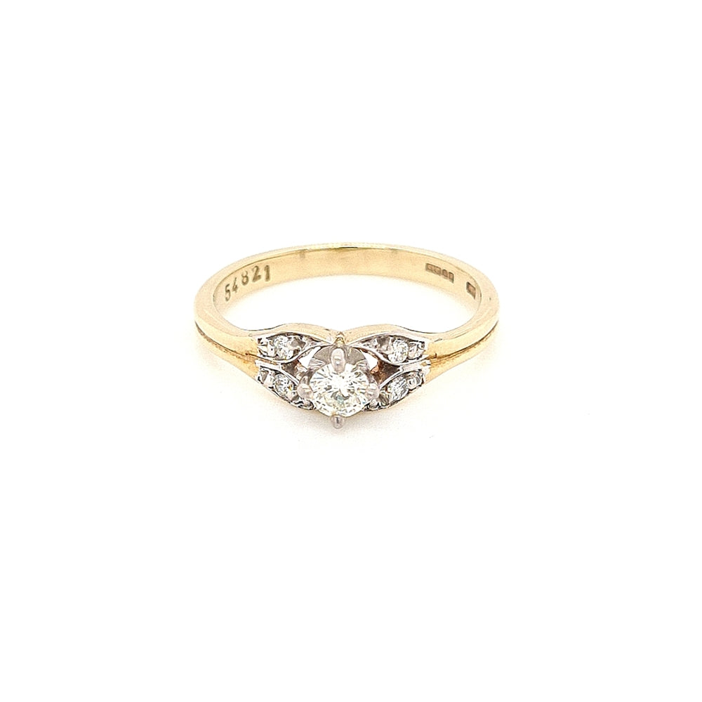 Vintage Style 9ct Gold Solitaire with Diamond Sides - Diana O'Mahony Jewellers
