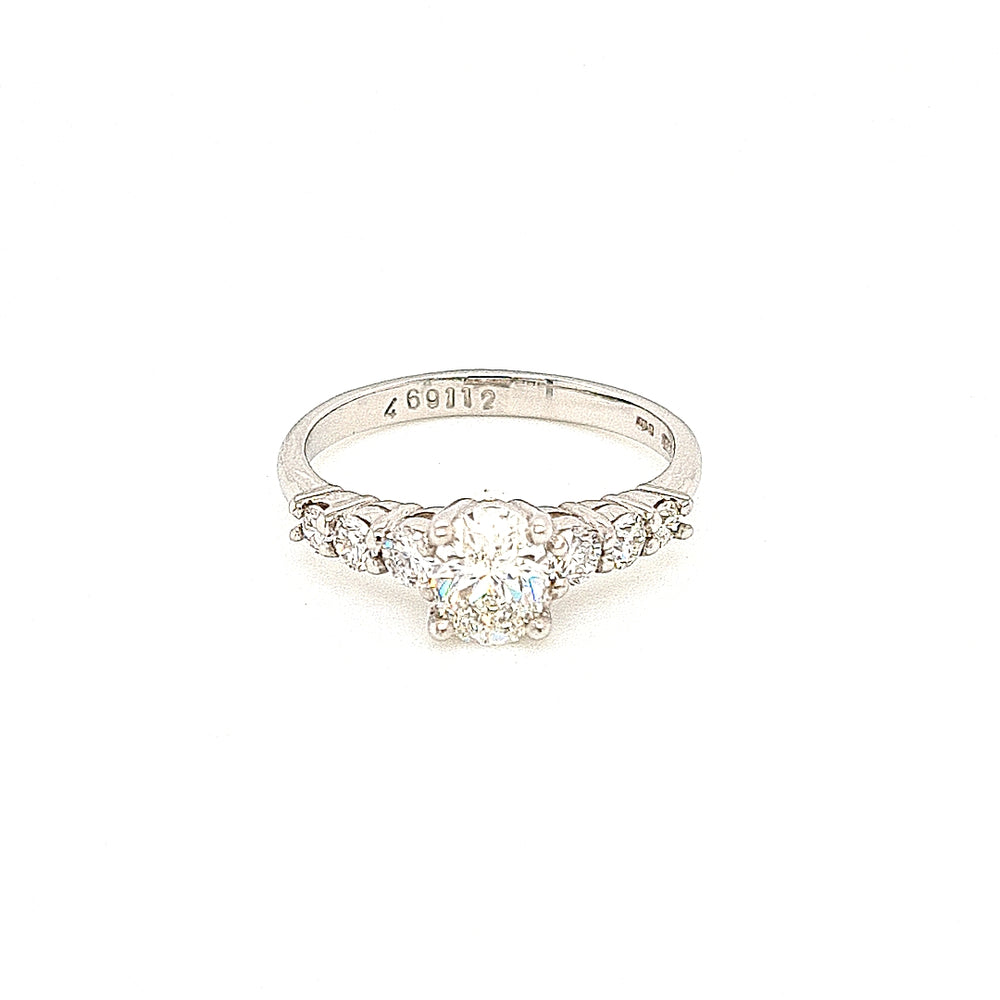 Platinum Oval Solitaire with Graduating Diamond Shoulders