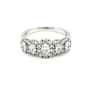 18ct White Gold 5 Stone Oval Cut Halo Cluster Ring - Diana O'Mahony Jewellers