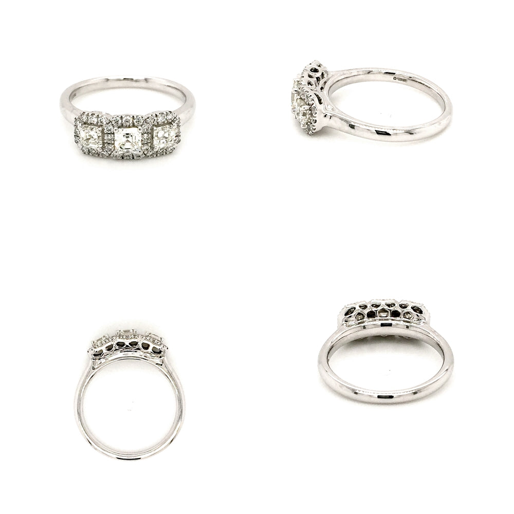 18ct White Gold 3 Stone Princess Cut Halo Cluster Ring - Diana O'Mahony Jewellers