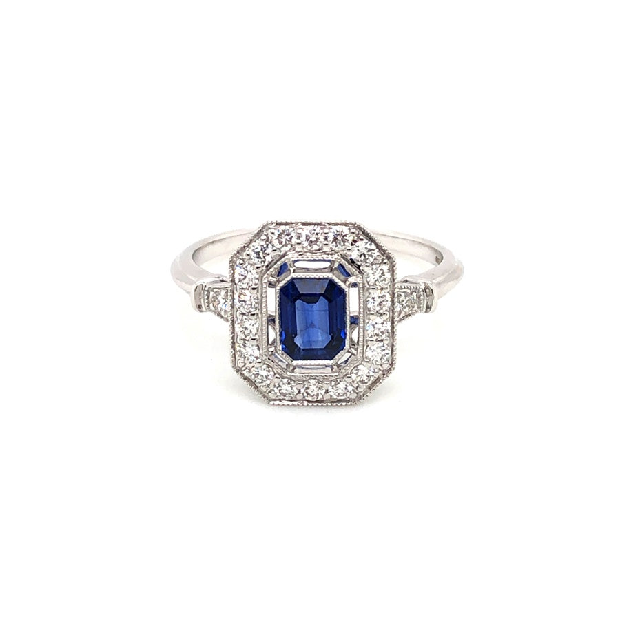 Load image into Gallery viewer, Art Deco Style Sapphire & Diamond Cluster Ring