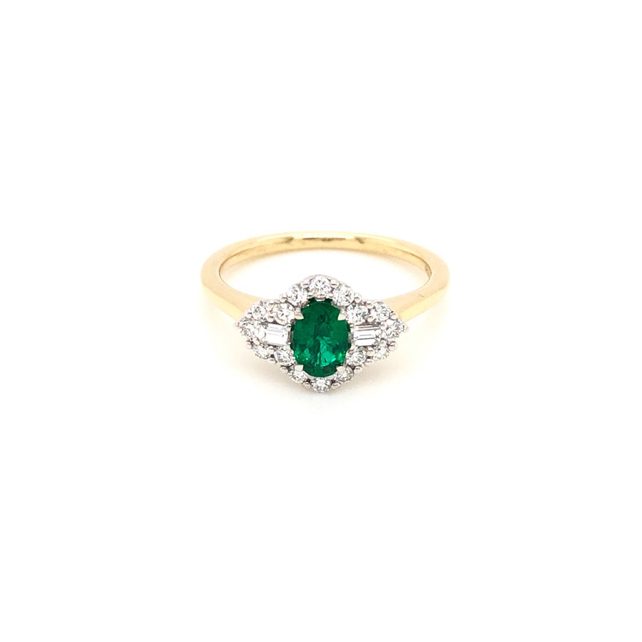 18ct Gold Emerald & Diamond Cluster with Baguette Sides