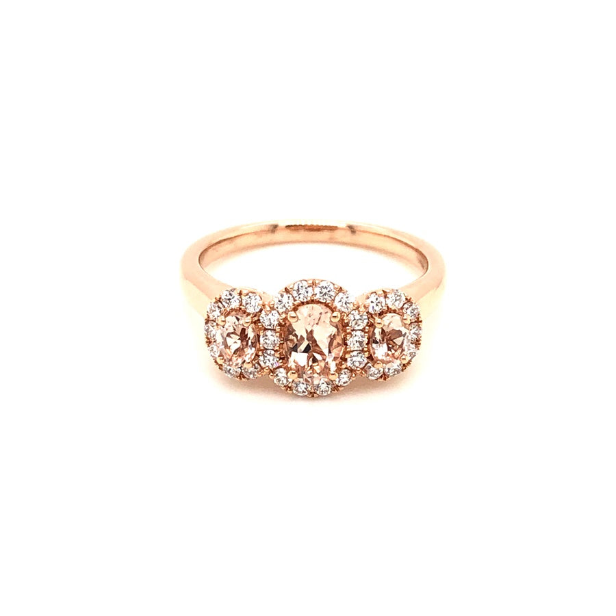 18ct Rose Gold Morganite 3 Stone Oval Cluster Ring
