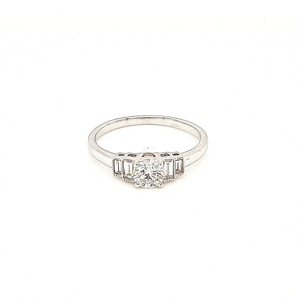 18ct White Gold Solitaire with Baguette Diamond Sides