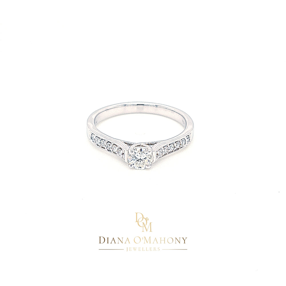 18ct White Gold Solitaire Diamond Engagement Ring with Diamond Shoulders