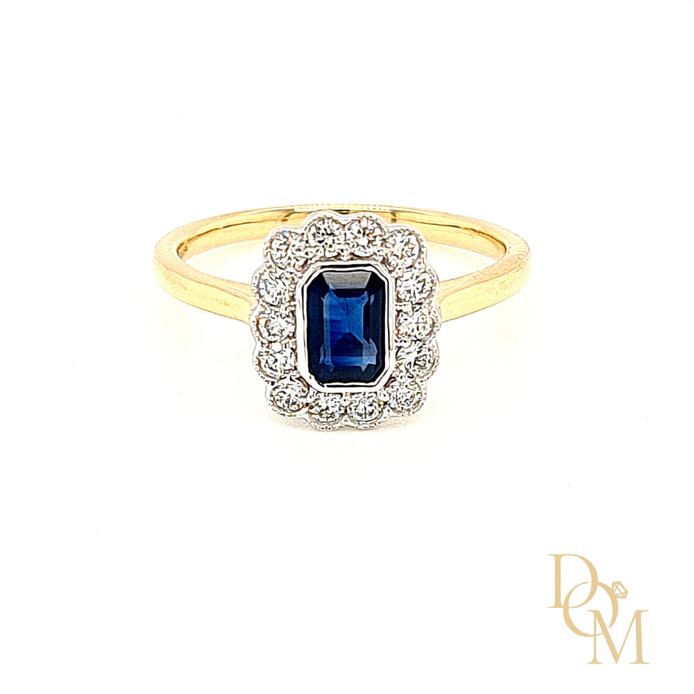 18ct Yellow Gold Vintage Style Sapphire & Diamond Cluster Ring