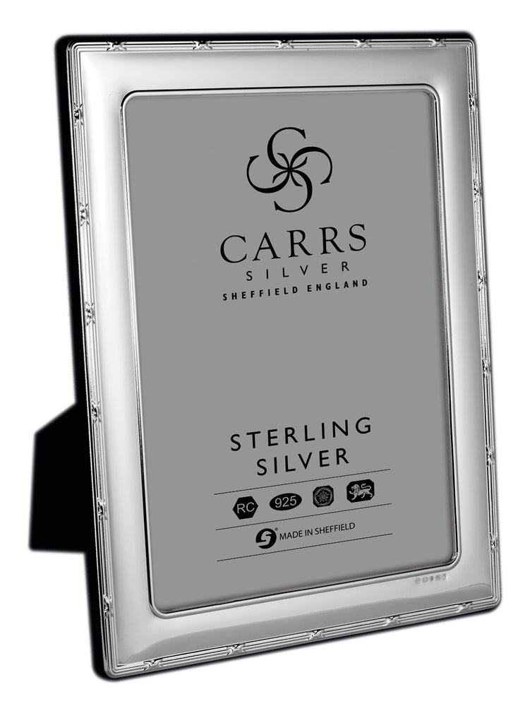 Carrs Sterling Silver Reed and Ribbon Photo Frame 6x4 FR264 - Diana O'Mahony Jewellers
