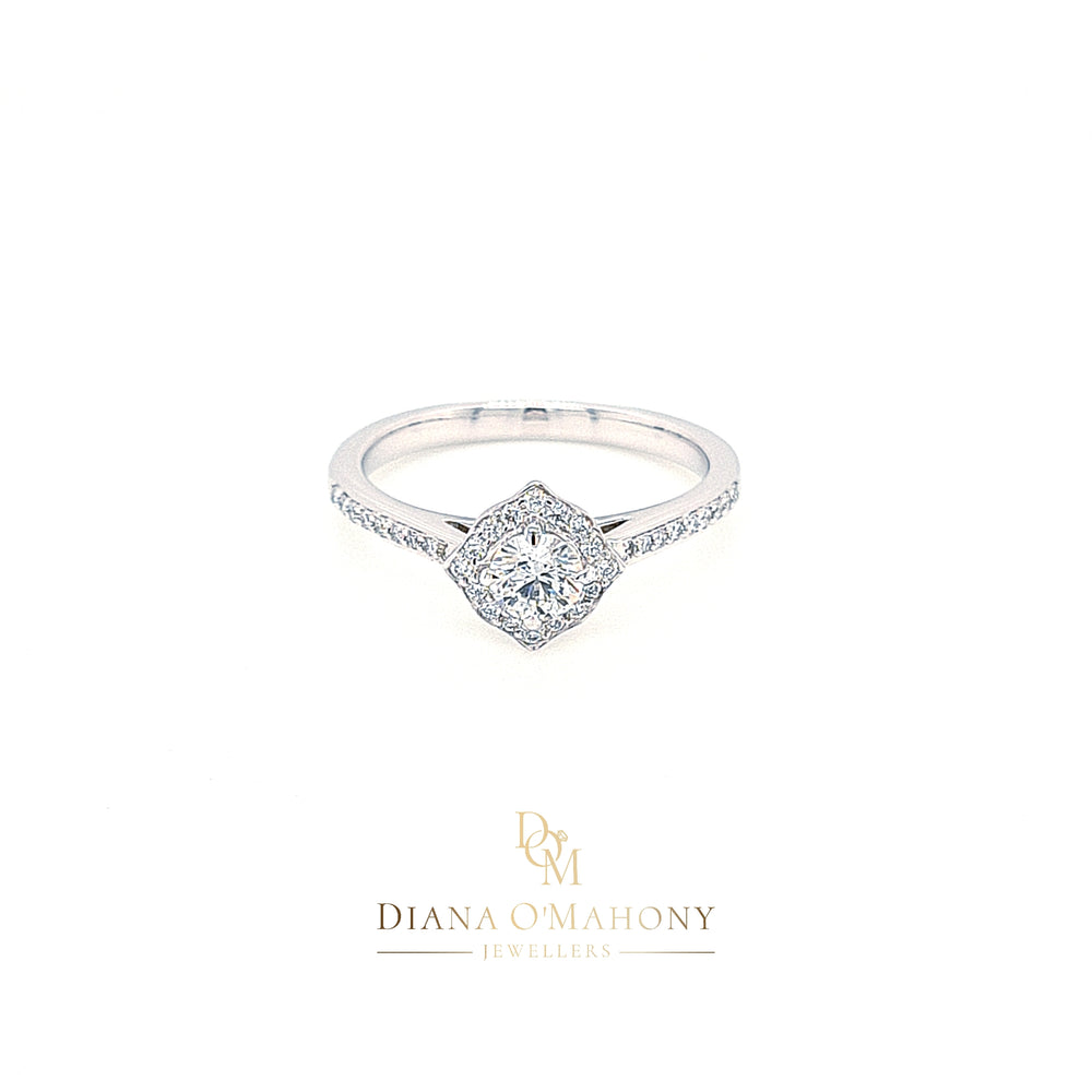 18ct White Halo Cluster Diamond Engagement Ring with Diamond Shoulders
