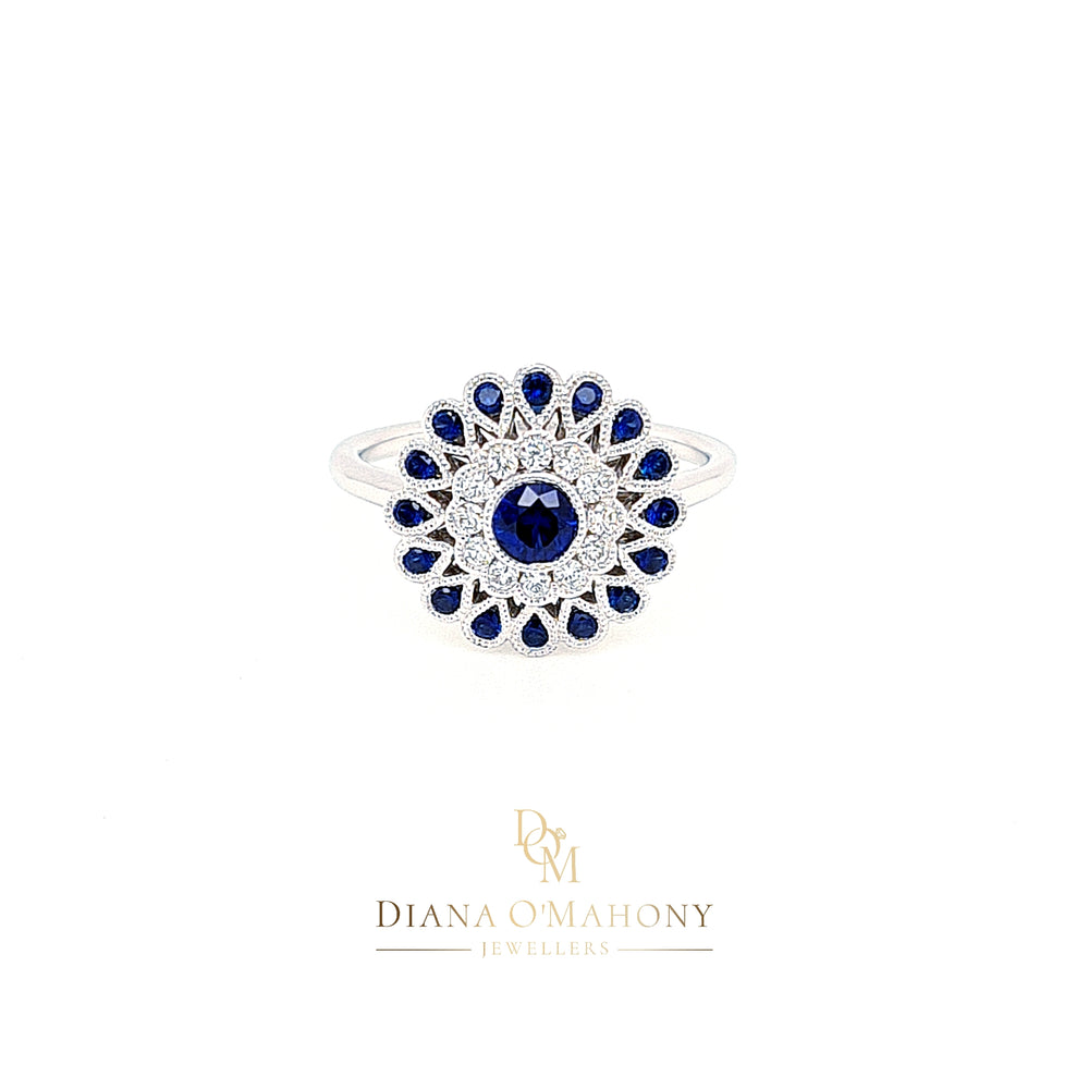 18ct White Gold Vintage Style Diamond & Sapphire Target Cluster Ring