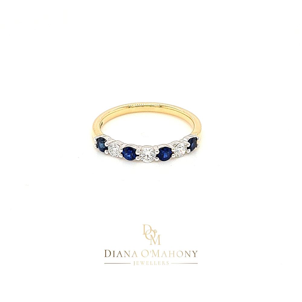 Load image into Gallery viewer, 18ct Yellow Gold Sapphire & Diamond Eternity Ring