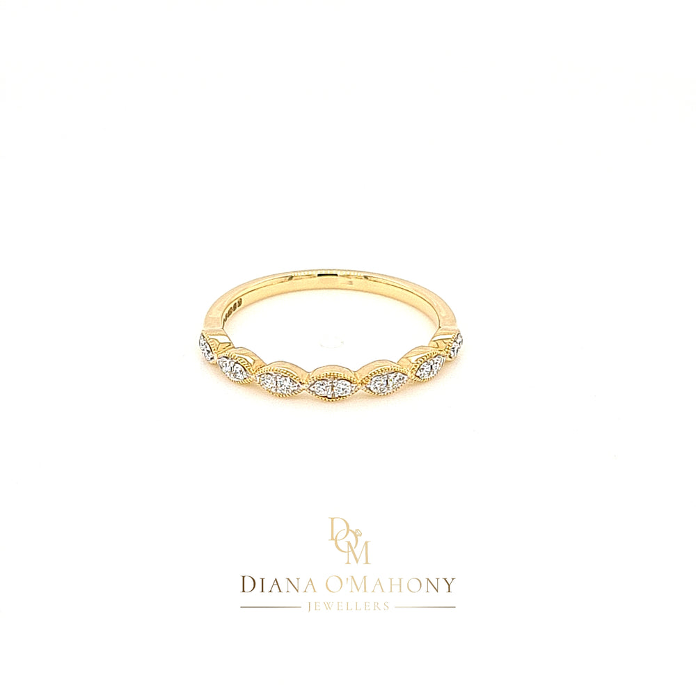 18ct Yellow Gold Vintage Style Marquise Shaped Diamond Eternity Ring