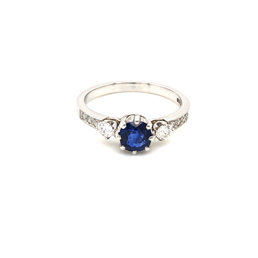 Load image into Gallery viewer, Platinum Sapphire Solitaire with Diamond Sides & Shoulders