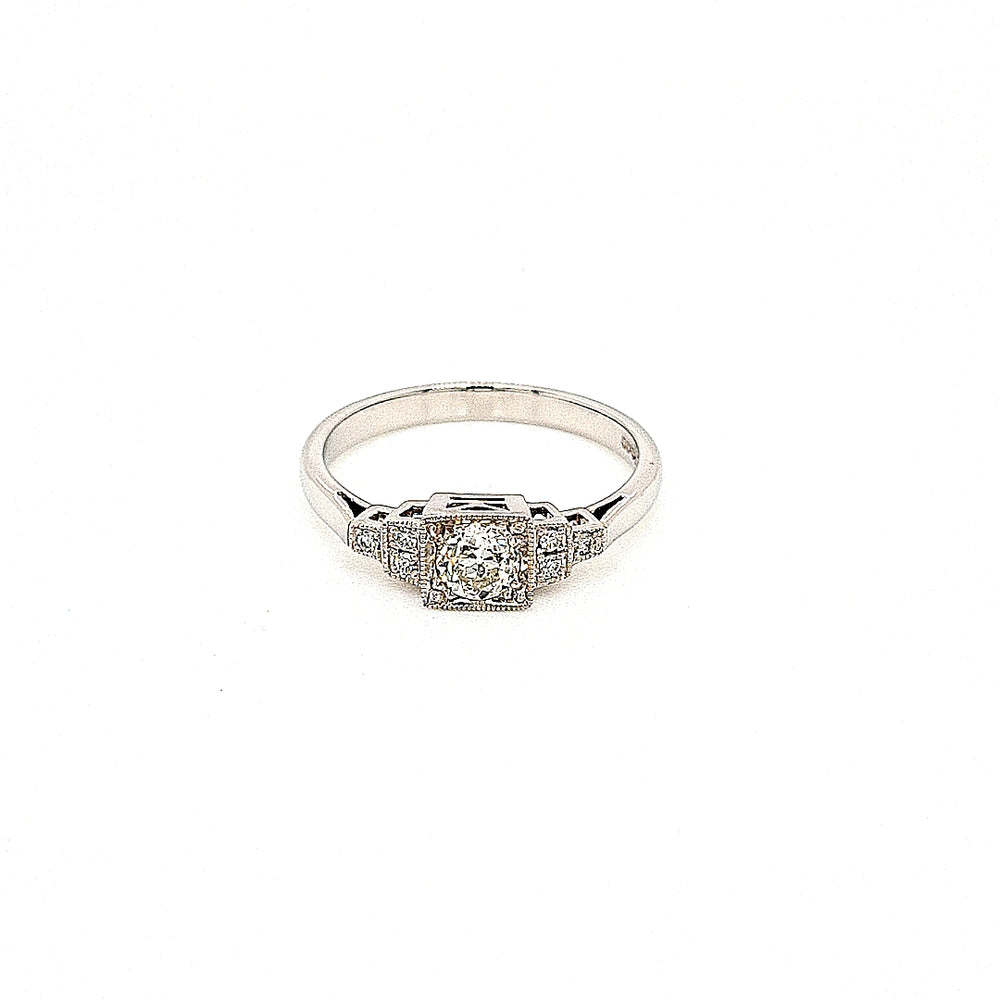 Art Deco Style Platinum Solitaire Ring with Diamond Sides