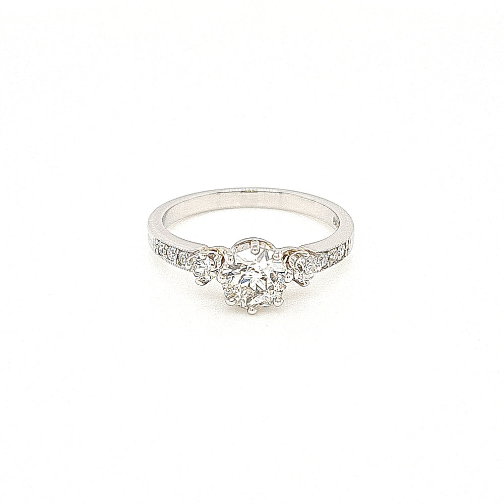 Platinum Solitaire Ring with Diamond Sides & Shoulders